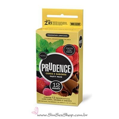 Preservativo Prudence Cores e Sabores Party Pack 12 unidades