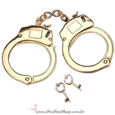 Algemas de metal com destravamento de segurança e 2 chaves