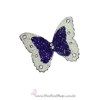 Tatuagem de pele borboleta prata e azul com glitter