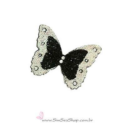 Tatuagem de pele borboleta preta e prata com glitter