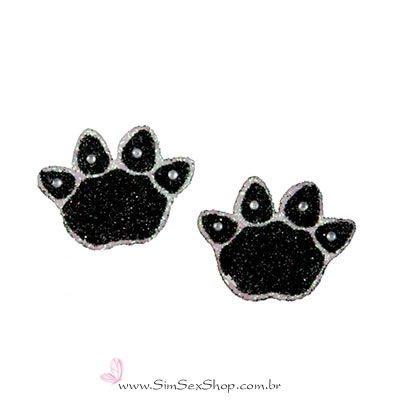 Tatuagem de pele patinhas pretas com glitter, 2 unidades
