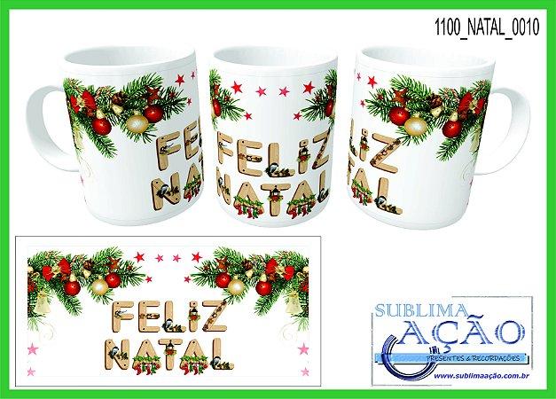 Caneca Cerâmica Branca 325ml Cilíndrica - Tema Natal (01Unid.)