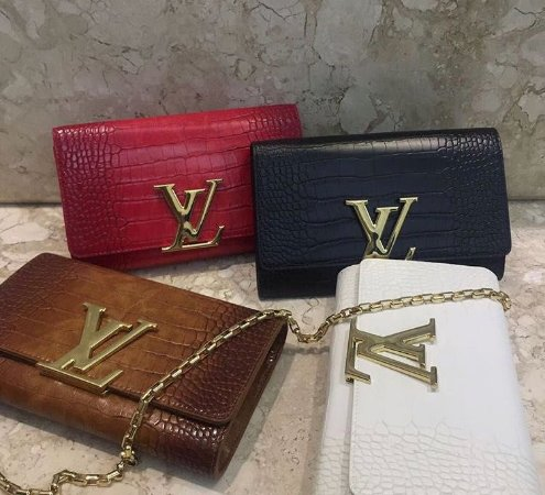 Bolsa Louis Vuitton Chain Louise Couro Croco