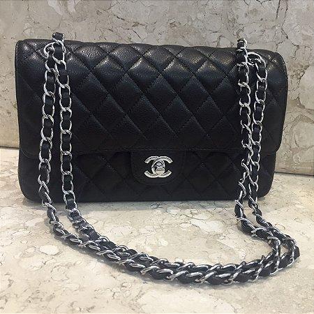 Bolsa Chanel Classic Double Flap Caviar Preta Com Prata