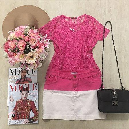 Saia Jeans Degradê Pink