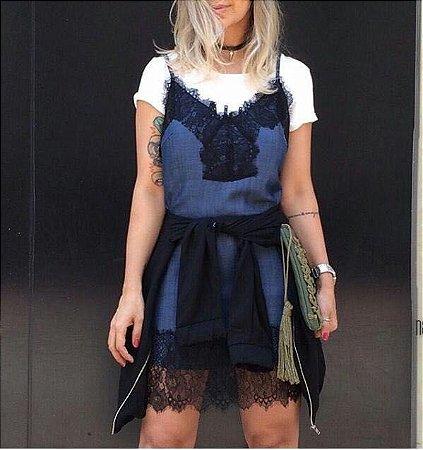 Vestido Jeans Com Renda Bebella