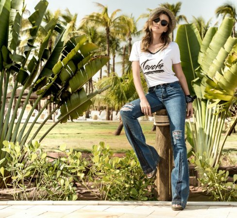 Calça Jeans Flare Detalhes Bebella