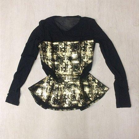 Blusa Juju fashion gold tule