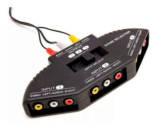 Chave Seletora AV Audio/Vídeo RCA 3x1 - DVD/Som/Televisão/Vídeo-Game
