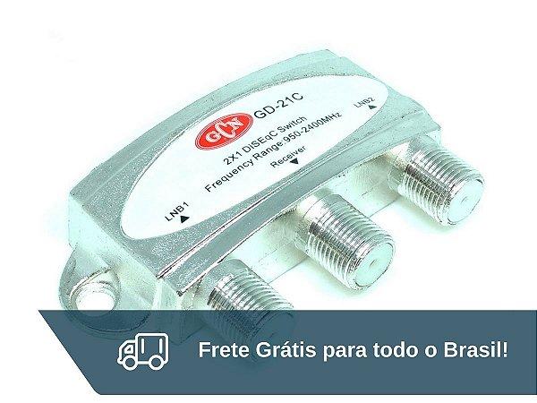 Chave Comutadora Diseqc 2 X 1 GCN - Frete Grátis