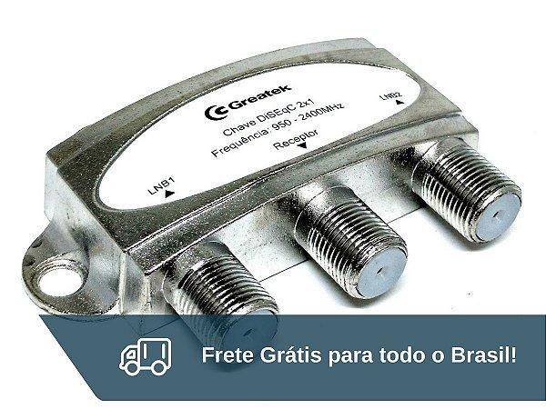 Chave Comutadora Diseqc Para Duas Antenas Greatek - Frete Grátis