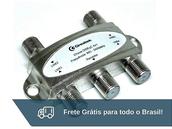 Chave Comutadora Diseqc Para Quatro Antenas Greatek - Frete Grátis