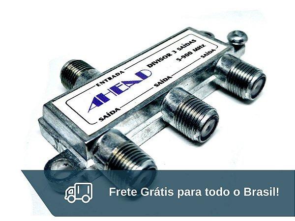 Chave Divisora de Antena Ahead 3 Saídas - Frete Grátis