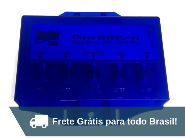 Chave Diseqc Bedin 4 Saídas C/ Protetor A Prova D'água 2.0 - Frete Grátis