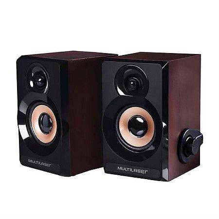 Caixa De Som 2.0 Multilaser SP261 P2 Usb 6W Rms Madeira