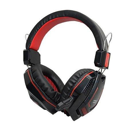 Headset Satellite AE-360UR com Microfone - Preto/Vermelho USB