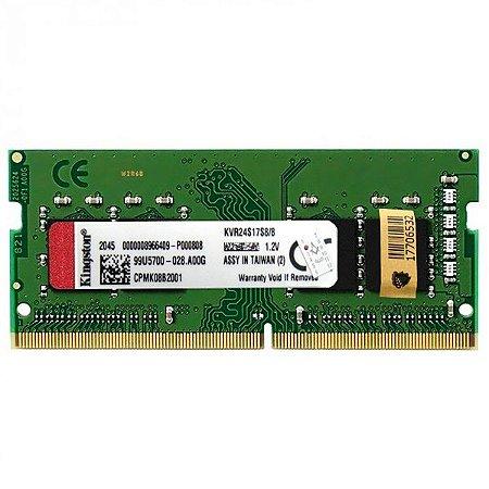 Memória RAM de 8GB para Notebook Kingston KVR24S17S8 / 8 DDR4