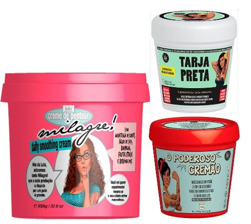 Lola Cosmetics - Kit Cronograma Capilar Milagre 930g + O Poderoso Cremão + Máscara Tarja Preta