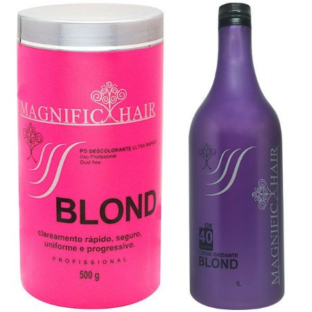 Magnific Hair - Kit Pó Descolorante Rosa + Água Oxigenada BLOND 40 volumes