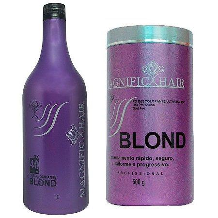 Magnific Hair - Blond Pó Descolorante Ultra Rápido (Roxo) + Água Oxigenada Blond 40 Volumes