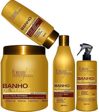Forever Liss - Banho de Verniz Kit Reconstrução de Brilho (Shampoo 500ml + Queratina 300 + Leave in 150ml + Banho de Verniz 1kg)