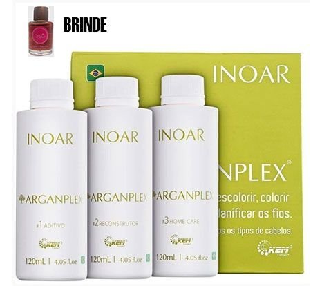 Inoar - Kit ArganPlex 3 passos (Aditivo 120ml + Reconstrutor 120ml + Home Care 120ml) + BRINDE Óleo 7ml