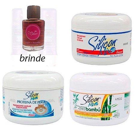 Silicon Mix - Kit 3 Máscaras Poderosas: Bambú, Proteína de Perla e Avanti 225g cada + Brinde Óleo 7ml