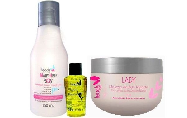 Leads Care - Cronograma Capilar Kit Blindagem (SOS Mary Help 150ml + Varinha 35ml + Máscara Lady 300g)