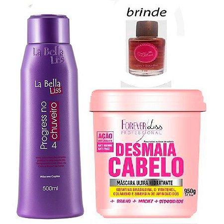 La Bella Liss - Kit Progressiva no Chuveiro 500ml + Desmaia Cabelo 950g Forever Liss + Brinde Óleo 7ml