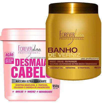 Forever Liss - Desmaia Cabelo 950g + Banho de Verniz 1kg