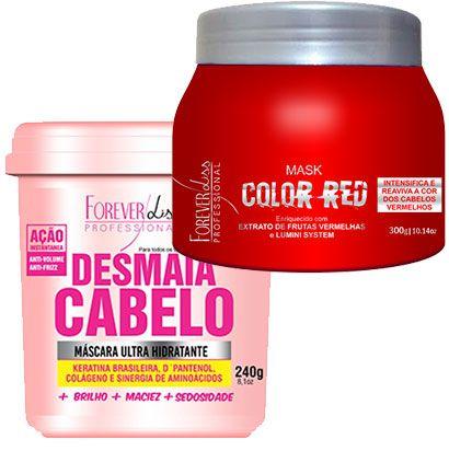 Forever Liss - Desmaia Cabelo 240g + Color Red Matizador Vermelho 300g