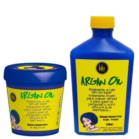 Lola Cosmetics - Kit Argan Oil Pracaxi (Shampoo 250ml + Máscara Reconstrutora 230g)
