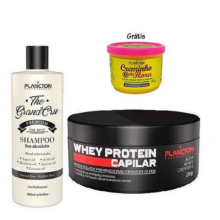 Plancton - Kit Shampoo Liso Absoluto The Grand Cru 500ml e Whey Protein Reconstrução Capilar 250g (Grátis Creminho da Hora 40g)