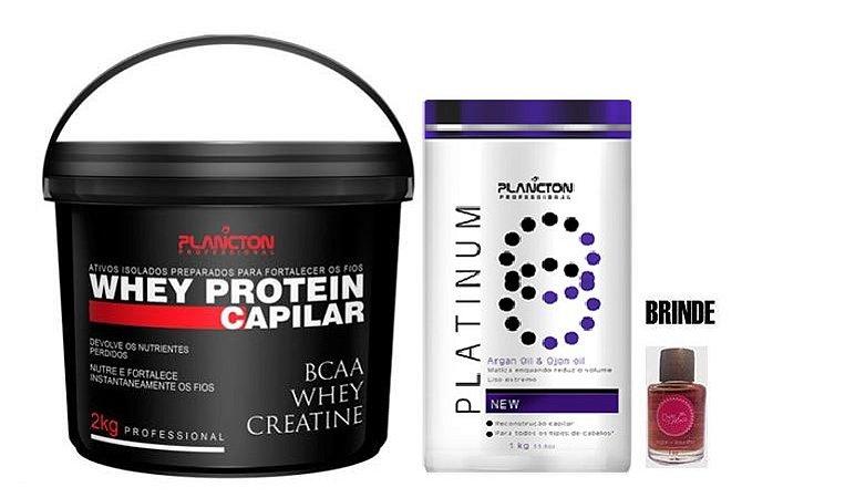 Plancton - Kit Platinum Btx Redutor de Volume 1kg + Whey Protein Capilar 2kg + Brinde Óleo 7ml