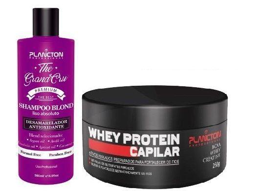 Plancton - Kit Shampoo Blond Liso Absoluto The Grand Cru 500ml e Whey Máscara Capilar 250g