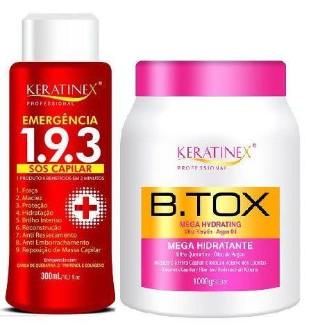 Keratinex - Kit  Emergência 193 SOS Capilar 300ml +  Redutor de Volume Mega Hidratante 1kg (Creme Alisante)