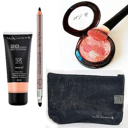 Vult - Kit Básica e Linda com BB Cream FPS 35 + Lápis Preto Cajal + Blush Mosaico + Brinde (Necessaire preta)