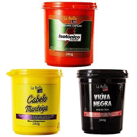 La Bella Liss - Cronograma Capilar no Chuveiro (Cabelo Manteiga, Isotônico e Viúva Negra 3x240g)
