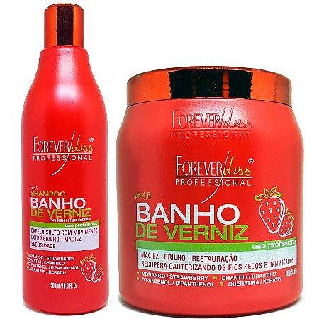 Forever Liss - Banho de Verniz Morango Kit Shampoo 500ml + Máscara 1kg