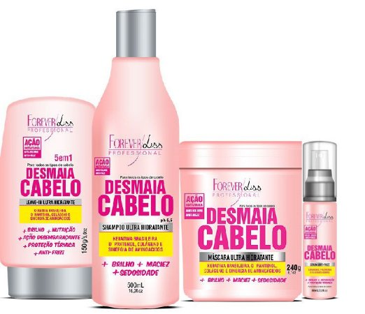 Forever Liss - Desmaia Cabelo Kit Máscara 240g + Shampoo 500ml + Leave-in 150g + Sérum60ml