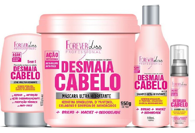 Forever Liss - Desmaia Cabelo Kit Máscara 950g + Shampoo 500ml + Leave-in 150g + Sérum 60ml