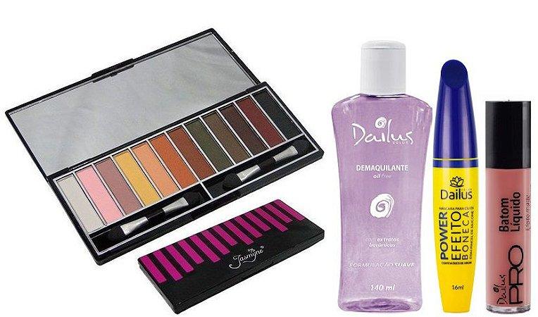 Dailus - Kit Make do Dia com Paleta de Sombras Jasmine + Demaquilante + Rimel Boneca + Batom Matte 10 Pliê