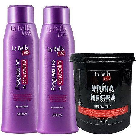 La Bella Liss - Kit 2 Progressivas No Chuveiro 500ml + 1 Viúva Negra Máscara Reconstrução 240g