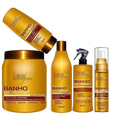 Forever Liss - Banho de Verniz Kit Completo Shampoo 500ml + Queratina 300ml + Leavein 150ml + Máscara 1kg + Óleo de coco 60ml