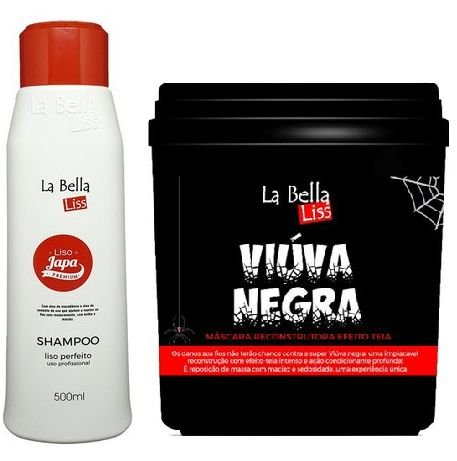 La Bella Liss - Liso Japa Shampoo que Alisa 500ml + Viúva Negra Máscara de Reconstrução 950g