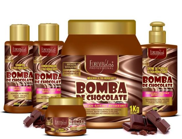 Forever Liss - Bomba de Chocolate Kit Shampoo 300ml + Condicionador 300ml + Creme de Pentear 300 ml + Máscaras 1kg e 250g