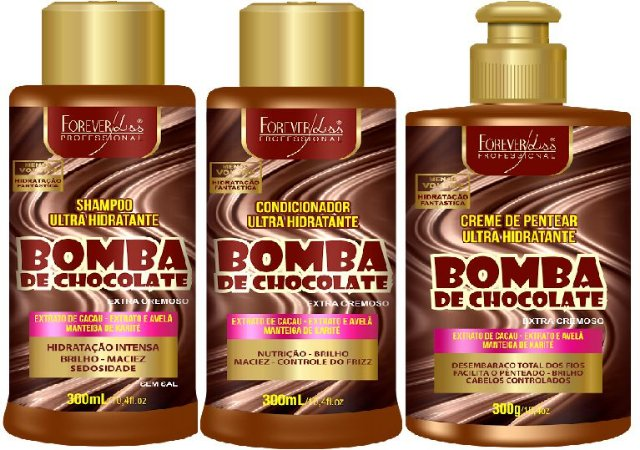 Forever Liss - Bomba de Chocolate Shampoo 300ml + Condicionador 300ml + Creme de Pentear 300g