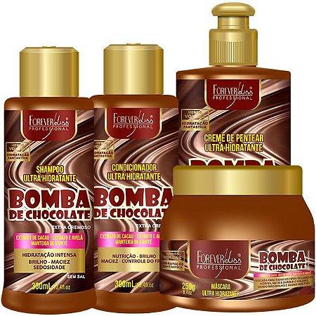 Forever Liss - Bomba de Chocolate Kit Shampoo 300ml + Condicionador 300ml + Creme de Pentear 300 ml + Máscara 250g
