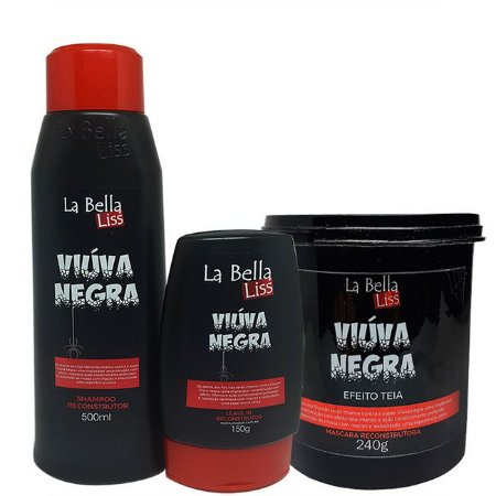 La Bella Liss - Viúva Negra Kit Shampoo 500ml + Leave-in 150g + Máscara 240g Reconstrução Profunda