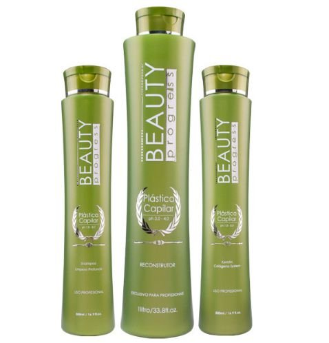 Beauty Progress - Plástica Capilar 3 Passos Shampoo 500ml + Queratina 500ml + Reconstrutor 1L